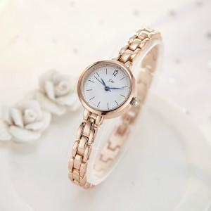 Women's Simple Steel Quartz Watch with Steel Bracelet - Golden