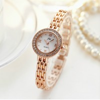 Ladies Rhinestone Casual Quartz Watch - Golden