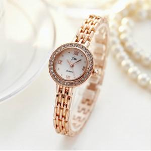 Ladies Rhinestone Casual Quartz Watch - Golden