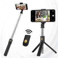 Bluetooth Selfie Stick Tripod Holder Mount For iPhone Samsung - Black