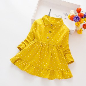 Casual Small Love Dots Dress For Kids - Yellow