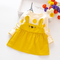 New Arrival Girls Cotton Princess Rabbit Cute Dress - Yellow