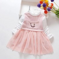 Girls Thickened Mesh Casual Dress - Pink