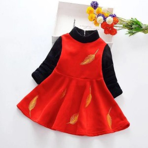 New Arrrival Girl Long Sleeve Princess Dress - Red