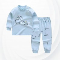 Kids Cartoon Pajama Set - Sky Blue