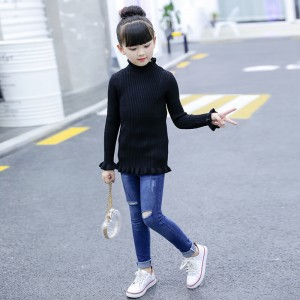 Ribbed High Neck Body Fitted Kids Wear Sweater T-Shirt - Black
