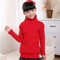 Ribbed High Neck Body Fitted Kids Wear Sweater T-Shirt - Red