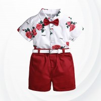 Floral Print Shirt With Shorts For Boys - Red