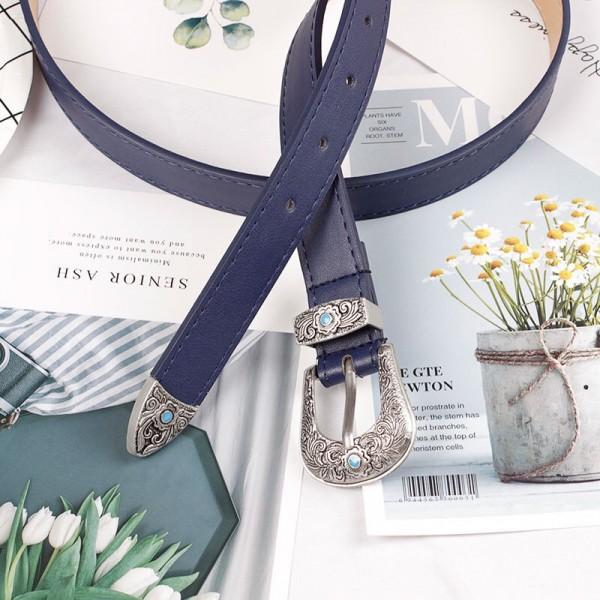 Ladies Fashion Carved Metal Buckle Belt - Blue