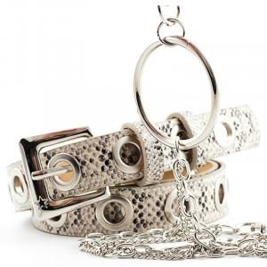 Ladies Vintage Rock Ring Chain Snake Pattern Belt - Beige