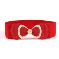 Ladies Bowknot Buckle Elastic Wild Belt - Red