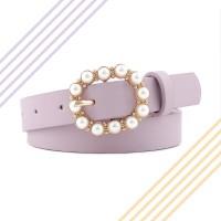 Ladies Fashion Pearl Decorative Thin Belt - Light Purple