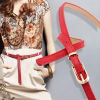 Ladies Pin Buckle Fashion Flower Belt - Red