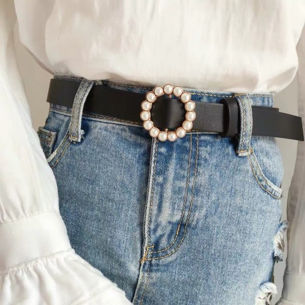 Ladies Leather  Pin Buckle Fashion Flower Belt - Black