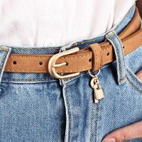 Ladies Casual Leather Lock With Key  Buckle Belt - Brown