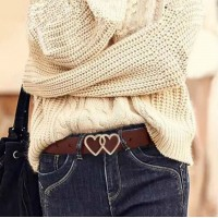 Ladies Casual Leather Heart Buckle Belt - Coffee