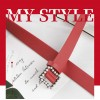 Ladies Fashion Square Buckle Belt - Red