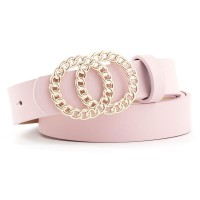 Ladies Fashion Double Circle Buckle Belt - Pink