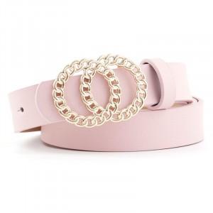 Ladies Fashion Double Circle Buckle Belt - Pink