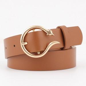 Ladies Fashion Golden Buckle Leather Belt - Brown