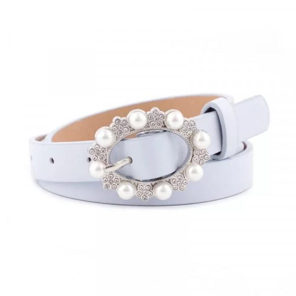 Ladies Casual Pearl Buckle Leather Belt - Sky Blue