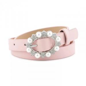 Ladies Casual Pearl Buckle Leather Belt - Pink