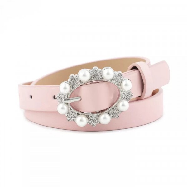 Ladies Casual Pearl Buckle Leather Belt - Pink