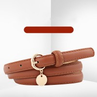 Ladies Fashion Round Buckle Leather Belt - Brown