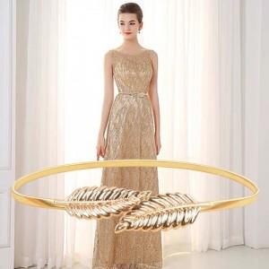 Ladies Metal Leaf Elastic Waistband Belt - Golden