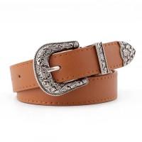 Ladies Vintage Carved Buckle Belt - Brown