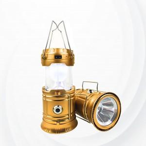 Camping Lantern  Usb Rechargeable Solar Energy Flashlight - Golden