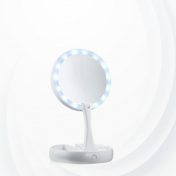 Makeup Mirror With Led Lights Foldable -White