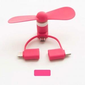 3 In 1 Mini Portable USB Fan - Pink