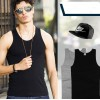 Cotton Vest Pure Color Top For Man - Black