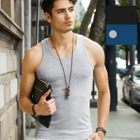 Cotton Vest Pure Color Top For Man - Gray