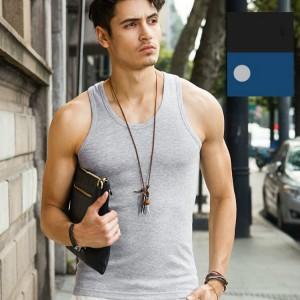 Cotton Vest Pure Color Top For Man - Gray