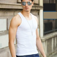 Cotton Vest Pure Color Top For Man - White