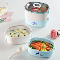 Good Quality 2 Layer Lunch Box With Spoons - Multicolor