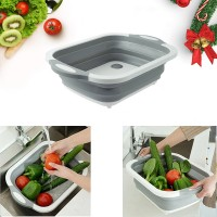 Multi Function 4 In 1 Fruit Vegetable Drainer And Cutting Board - Gray