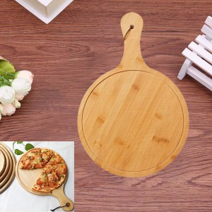 Round Shape Wooden Pizza And Fruit Plate - Brown
