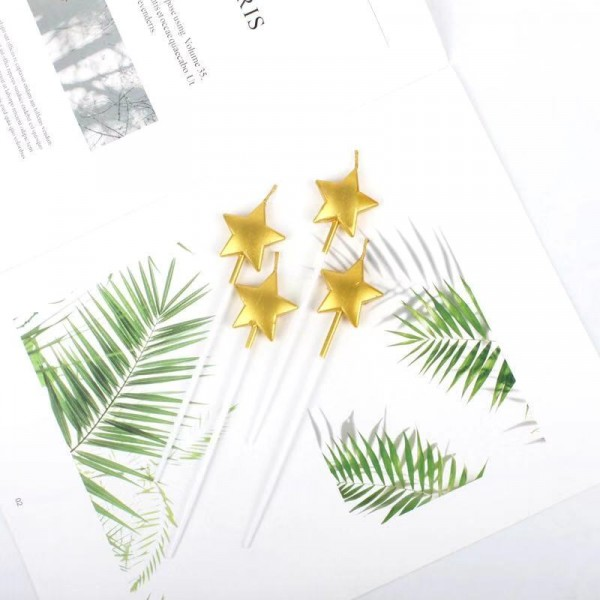 4 Pcs Birthday Party Star Candles - Golden