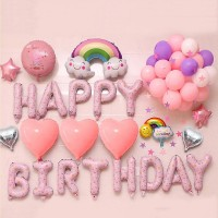 40Pcs Letters And Balloons mix set for Birthday party - Pink