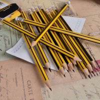 48 Pcs Pack Wood Handle Students Writing Plain Pencil  - Yellow