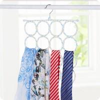 Circles Scarf Belt Tie Organizer Holder - White Blue