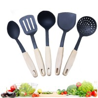 5 Pcs Silicone Nonstick Cooking Turner Set - Black
