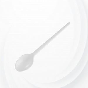 50 Pcs Plastic Table Spoon - White
