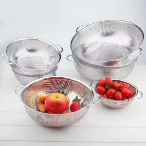 6 Pieces Stainless Steel Fruit Vegetable & Rice Strainers Set - Silver