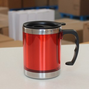 Stainless Steel Travel Mug with Sipper Lid 350ml - Red