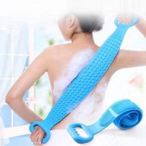 Silica Gel Bath Towel Rub Brush Back Scrubber - Blue