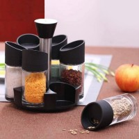 6 Pcs Round Shape Rotatable Spice Rack Jar - Black